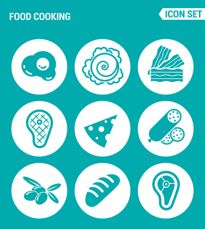 frozen meat: Vector set web icons. Food cooking, egg, cabbage, bacon, steak, cheese, sausage, olives, loaf, meat. Design of signs, symbols on a turquoise background