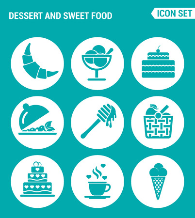honey cake: Vector set web icons. Dessert and sweet food, croissant, dessert, cake, fruit salad, honey, apple basket, coffee, ice creams. Design of signs, symbols on a turquoise background