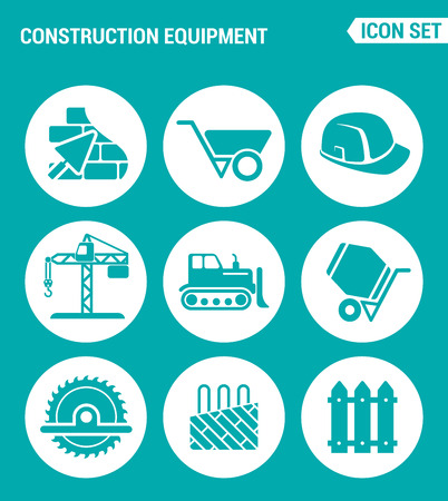 floor heating: Vector set web icons. Construction equipment, wheelbarrow, helmet, crane, bulldozer, cement mixer, saw, floor heating. Design of signs, symbols on a turquoise background