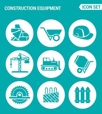 hand shovels: Vector set web icons. Construction equipment, wheelbarrow, helmet, crane, bulldozer, cement mixer, saw, floor heating. Design of signs, symbols on a turquoise background