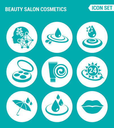 sun protection: Vector set web icons. Beauty salon cosmetics, care, cream moisturizing, sun protection, water resistant, waterproof, lips. Design of signs, symbols on a turquoise background