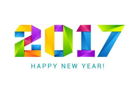 happy new year text: Happy new year 2017 text design colorful. Illustration