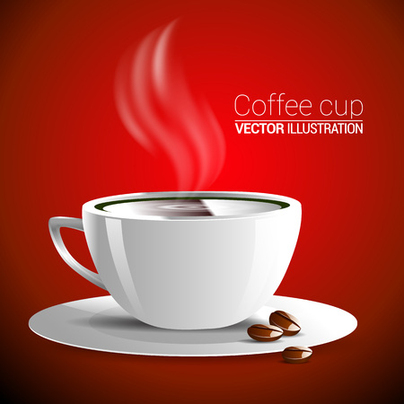 fragrant: white cup of fragrant hot coffee on a red background illustration