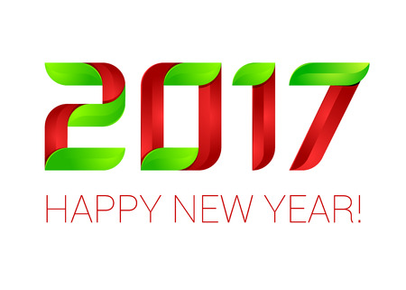 Happy new year 2017 text design green and red.