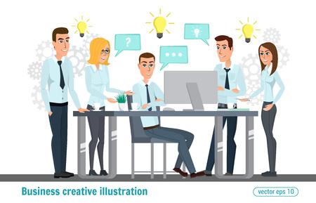 Business professional work team. Meeting, office, teamwork, planning, conference, office desk, brainstorming, conceptual. Vector creative illustrations flat design. Worker people Man and Women.