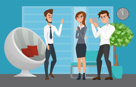 coordination: Business professional work team. Business People Group Diverse Team Business People Office. Vector creative illustrations flat design. Worker people Man and Women.