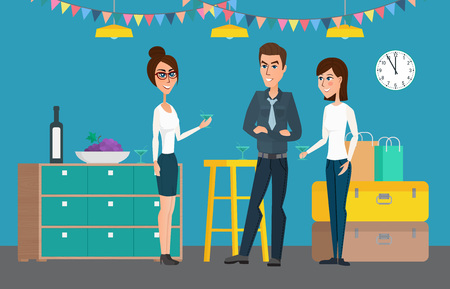 business group: Cheerful corporate party holiday. Vector creative illustrations flat design. Worker people Man and Women.