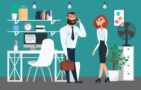 coordination: Business professional work. Businesspeople or office workers in interior building, characters, actions and activities. Vector creative illustrations flat design. Worker people Man and Women.
