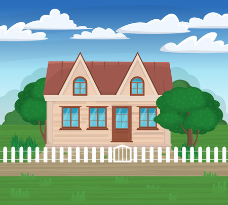 rural development: Vector illustrations modern house on the nature with a white fence and green trees. Family home. Rural landscape. Illustration