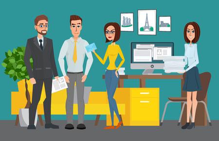 ビジネスのプロの仕事のチーム。共有作業環境。人々 の話とオープン スペースのオフィスのコンピューターで作業します。ベクトル クリエイティ