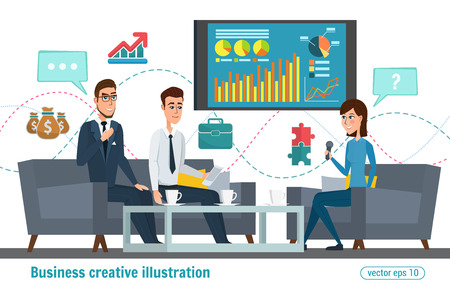anchorman: Business professional work. Press conference, interview concept, live report, vector microphones, giving interview news. Vector creative illustrations flat design. Worker people Man and Women. Illustration