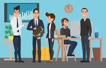 coordination: Business professional work. Meeting Discussing Business People. the contract with the client, workflow. Vector creative illustrations flat design. Worker people Man and Women.