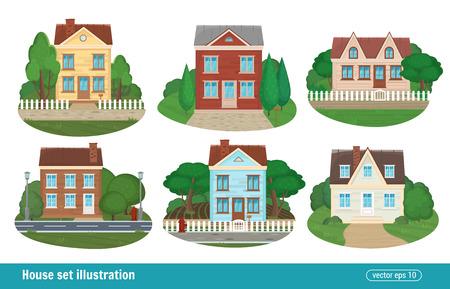 Conjunto casa de campo y casas residenciales de bienes raíces iconos de la casa ciudad edificio aislado de los edificios modernos de colores detallados. ilustración vectorial de estilo plano.