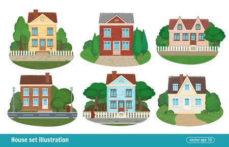 Metta il cottage e le case residenziali che costruiscono le icone della casa della città isolate delle costruzioni moderne variopinte dettagliate. Stile piano illustrazione vettoriale.