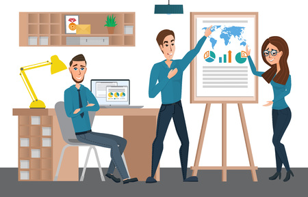 staff meeting: Business professional work team. Training staff presentation. Staff meeting, seminar and corporate training, employee training. Vector creative illustrations flat design. Worker people Man and Women. Illustration