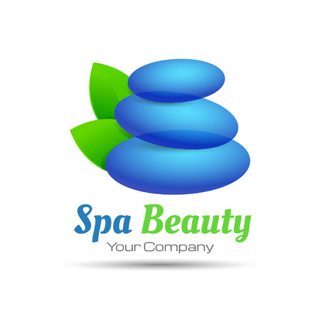 Vector abstract stones and leaves. Concept spa, yoga, relax. Creative logo design illustration. Template for your business company.
