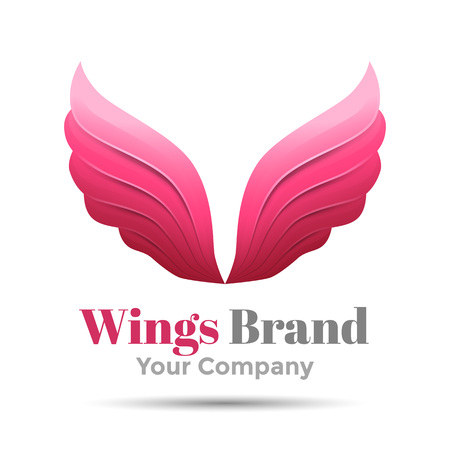 quickness: Pink simple wing vector icon. Design illustration. Template for your business company. Creative abstract colorful concept.