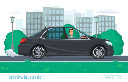 Successful businessman man rides through the city on prestigious car business class black. Vector illustration cartoon male and car colorful modern flat design