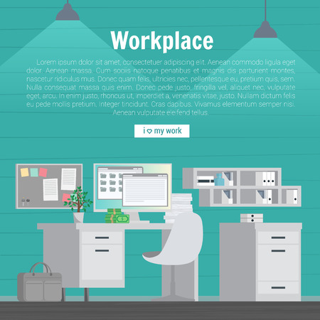 workday: Collection stylish colors business work flow items elements, things, equipment, objects. Flat modern design concept of creative office room interior workspace, workplace. Vector illustration.