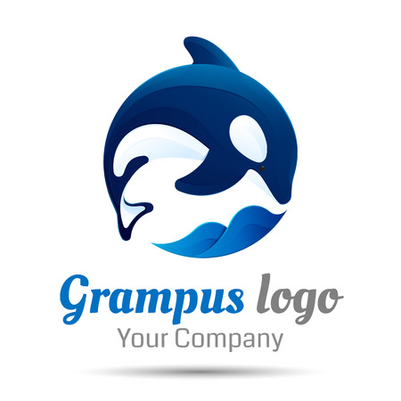 Killer whale. Jumping over sea wave. Vector design illustration. Template for your business company. Creative abstract colorful concept. Illustration