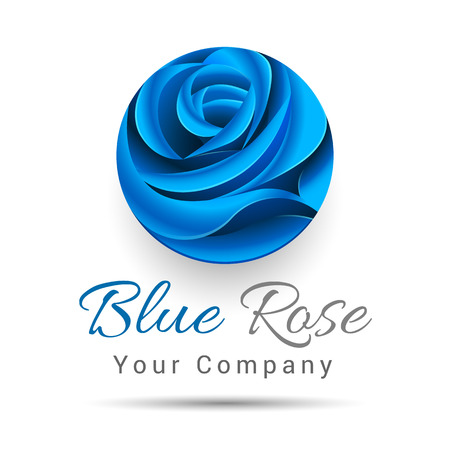 spa salon: Floral symbol of spa, beauty salon or body clinic. Vector Icon. Blue flower. Design illustration. Template for your business company. Creative abstract colorful concept.