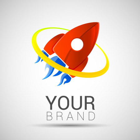 attainment: Spaceship flight, 2d vector, leadership concept, red color