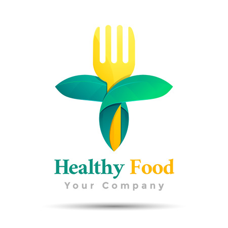 Vegetarian food symbol. Leaf shape with knife and fork template. Vector business icon. Corporate branding identity design illustration for your company. Creative abstract concept.