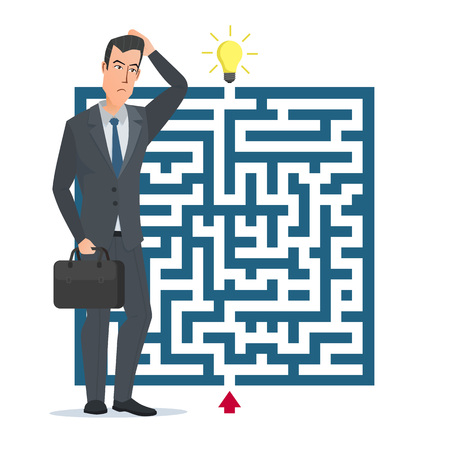 the right path: Flat design vector concept illustration. Businessman thinking how to pass the maze. Choose the right path. Business cartoon concept. Vector illustration isolated on white background in flat style. Illustration
