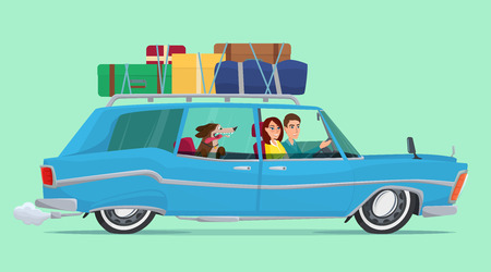 Man and woman Travel by car with his dog ,baggage on the top. Journey concept cartoon. Vector creative color illustrations flat design in flat modern style. Stock Illustratie