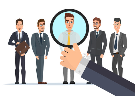 selected: Recruitment Hand Zoom Magnifying Glass Picking. Business Person Candidate. People Group Vector illustration isolated on white background in flat style.