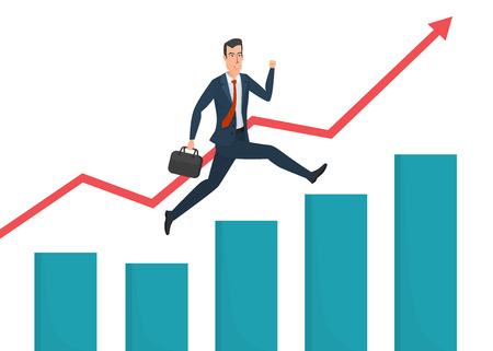 Businessman running grow up graph. Business cartoon concept. Vector illustration isolated on white background in flat style. Stock Illustratie