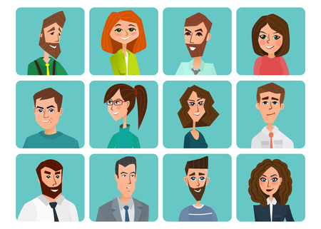 Avatar, woman, man heads. People vector shape heads different. Business concept. Vector creative color illustrations flat design in flat modern style. Ilustração