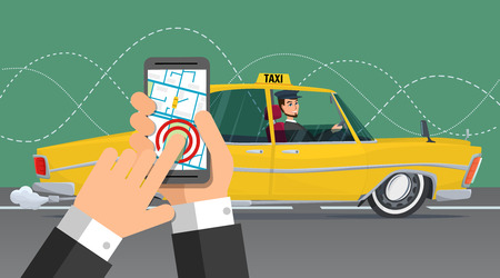 Taxi service. Smartphone en touchscreen, stad. Beeldverhaal concept. Vector creatieve kleurenillustraties plat design in flat moderne stijl.
