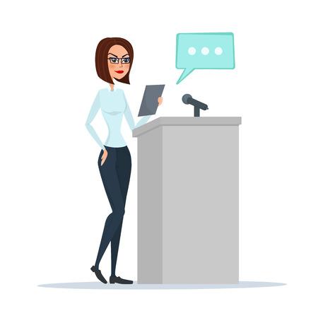 Politikerfrau, die hinter Rostrum steht und eine Rede gibt. Vector Abbildung getrennt auf weißem Hintergrund in der flachen Art.