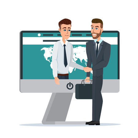 dealing: Business dealing. Handshake business through the screen. Businessmen negotiation. Telecommunication. Business cartoon concept. Vector illustration isolated on white background in flat style.