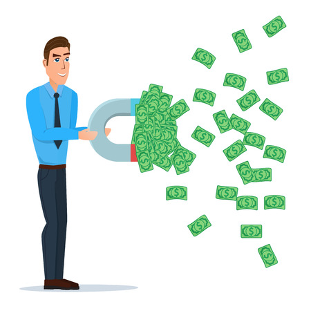 Male businessman getting money with a large magnet concept. Vector illustration isolated on white background in flat style. Illustration