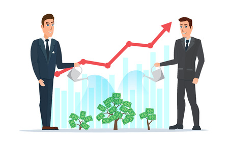 rises: businessman water the plants with the money graph rises. Business cartoon concept. Vector illustration isolated on white background in flat style.