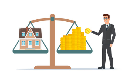 resale: Businessman holding house on money, man collects money for a house and weighs in the balance. Business cartoon concept. Vector illustration isolated on white background in flat style.