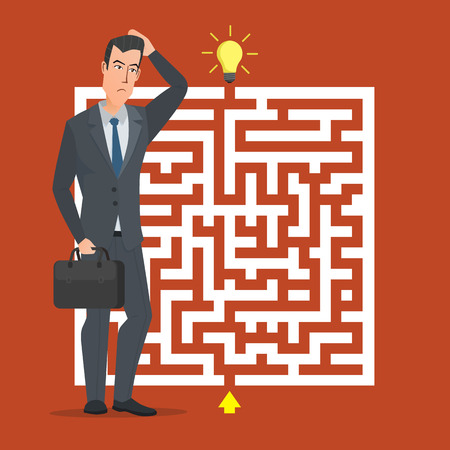 the right path: Flat design vector concept illustration. Businessman thinking how pass maze. Choose the right path. Business cartoon concept. Vector creative color illustrations flat design in flat modern style.