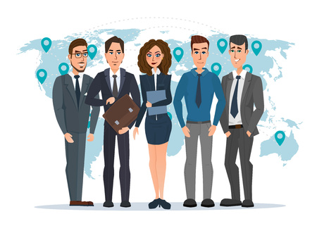 Leader and a team. Group of men and women politicians. leadership or global business concept. transnational corporate structure. Vector illustration isolated on white background in flat style. Illustration