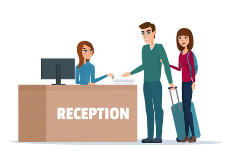 hotel reception: Tourists at hotel reception. Business cartoon concept. Vector illustration isolated on white background in flat style.