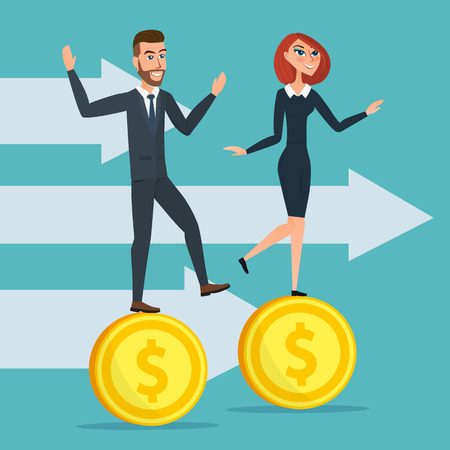 Girl and a man traveling businessmen on coins. Business cartoon concept. Vector creative color illustrations flat design in flat modern style.