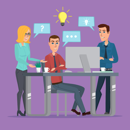 discussing: Teamwork office idea Business People Meeting Discussing Office Desk Businesspeople Working Flat Vector creative color illustrations flat design in flat modern style. Illustration