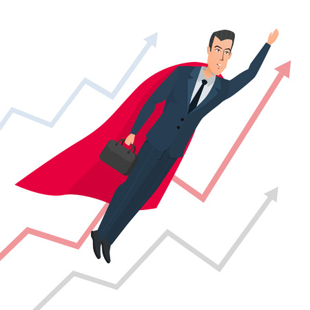Businessman in a suit superhero flies up above line chart. Vector illustration isolated on white background in flat style.