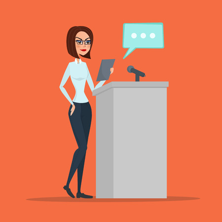 Politician woman standing behind rostrum and giving a speech. Vector creative color illustrations flat design in flat modern style.