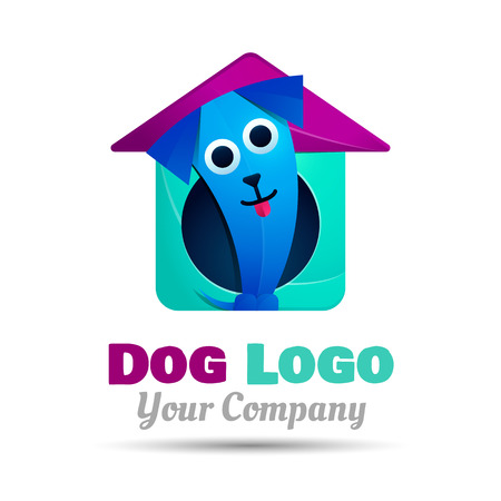 dog walking: Happy Puppy. Abstract Dog Design Template. Colorful Vector 3d Volume Corporate identity