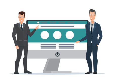 Presenta el sitio web de los empresarios. Pantalla de la computadora. Proyecto de desarrollo, información del proceso de SEO. Concepto de dibujos animados de negocios. Ilustración vectorial aislados sobre fondo blanco en estilo plano.