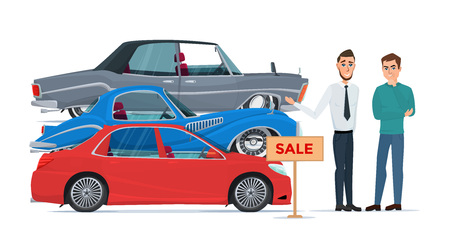 Buyer chooses a new car of the three proposed manager. Business cartoon concept. Vector illustration isolated on white background in flat style. Vettoriali
