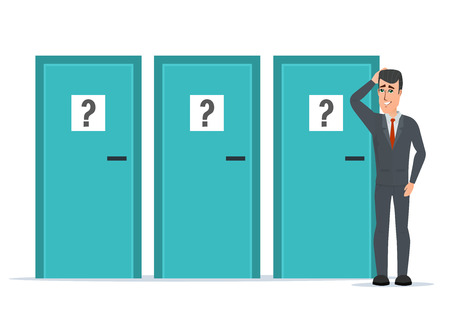 unable: Businessman standing beside three doors, unable to make the right decision. Marks question. Business cartoon concept. Vector illustration isolated on white background in flat style.