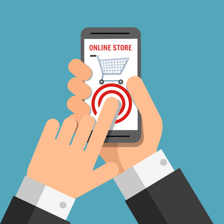 holing: Hand holing smart phone with buy button on the screen. Using mobile smart phone for online purchasing. Business concept. Vector creative color illustrations flat design in flat modern style.